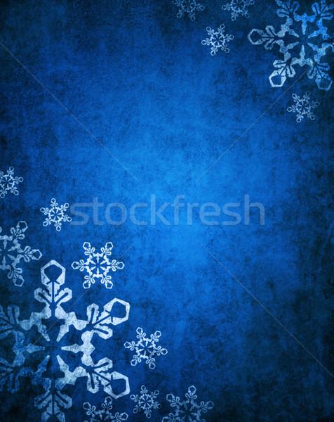 Blu Natale bianco fiocchi di neve carta abstract Foto d'archivio © hitdelight