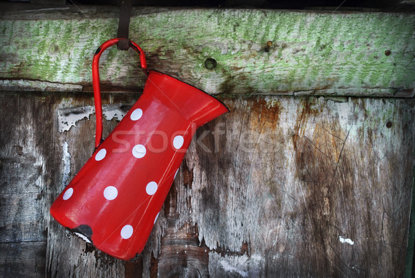 Bağbozumu sürahi kırmızı asılı rustik ahşap Stok fotoğraf © hitdelight