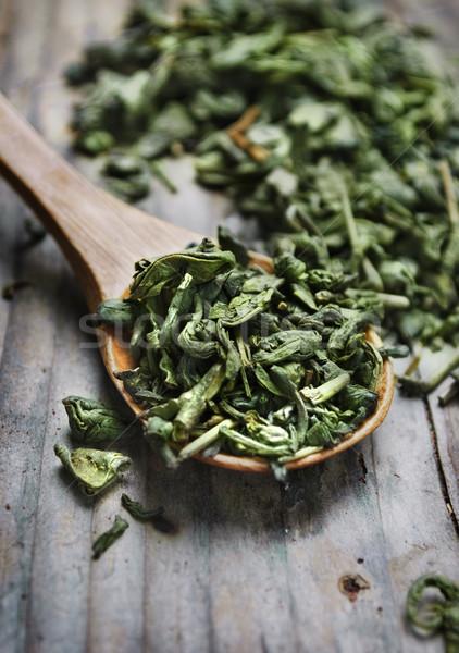 Thé vert cuillère séché laisse bois eau Photo stock © hitdelight