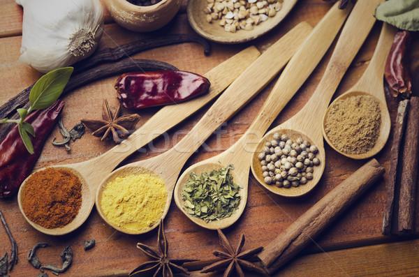 Spezie colorato texture alimentare tavola Foto d'archivio © hitdelight