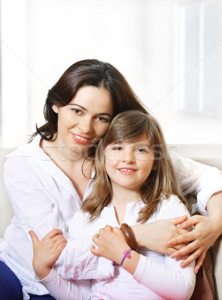 Gyereknevelés portré boldog anya mosolyog lánygyermek Stock fotó © hitdelight
