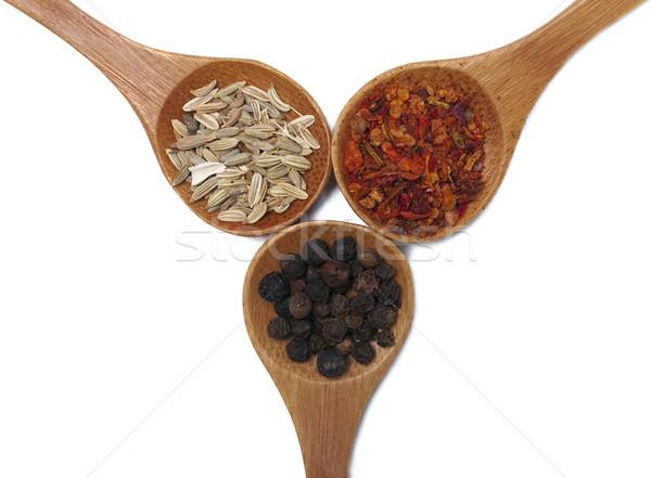 Fűszer különböző fakanál izolált fehér textúra Stock fotó © hitdelight