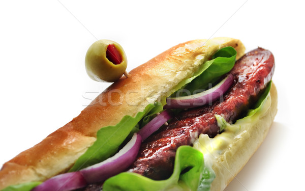 Snadwich with sausage Stock photo © hitdelight