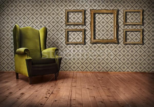 Сток-фото: Vintage · комнату · обои · старомодный · кресло · бумаги