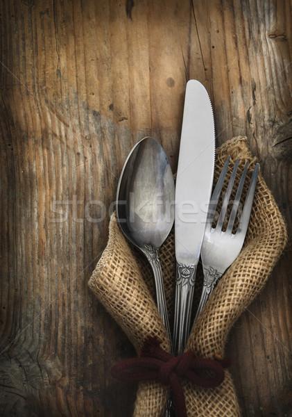 Klasszikus ezüst étkészlet étel fa konyha asztal Stock fotó © hitdelight