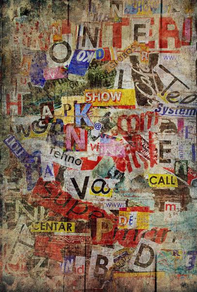 Grunge mintázott öreg szakadt újságok fal Stock fotó © hitdelight