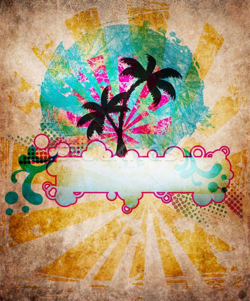 лет пляж дизайна Гранж стиль воды Сток-фото © hitdelight
