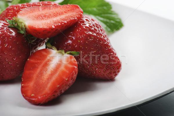 Fragole fresche bianco piatto alimentare natura Foto d'archivio © hitdelight