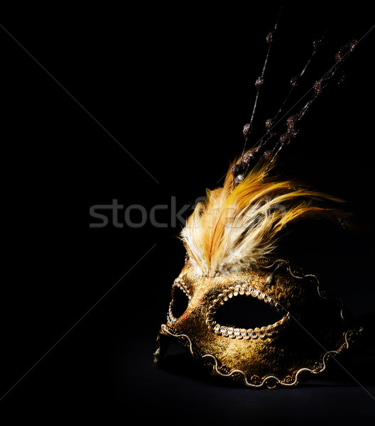 ベネチアンマスク 黒 背景 美 羽毛 ストックフォト © hitdelight