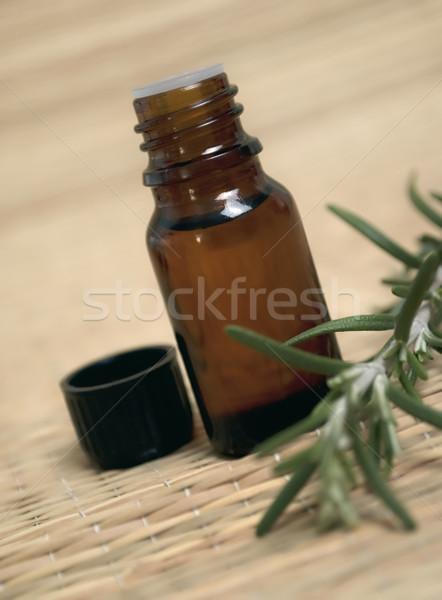 şişe öz yağ taze biberiye tıbbi Stok fotoğraf © hitdelight