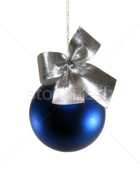 Blauw christmas bal zilver kneuzing Stockfoto © hitdelight
