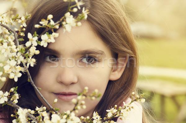 Bambina ritratto bella primavera fiore felice Foto d'archivio © hitdelight