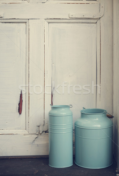 Vintage молоко синий деревенский двери древесины Сток-фото © hitdelight