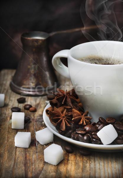 Café tasse de café pot bois planche bois Photo stock © hitdelight