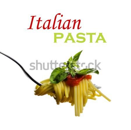 Spaghetti tomatensaus basilicum vork achtergrond tabel Stockfoto © hitdelight