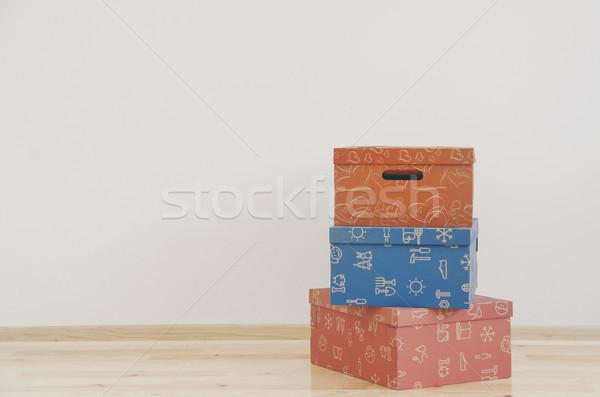 Dobozok üres szoba színes család űr kék Stock fotó © hitdelight