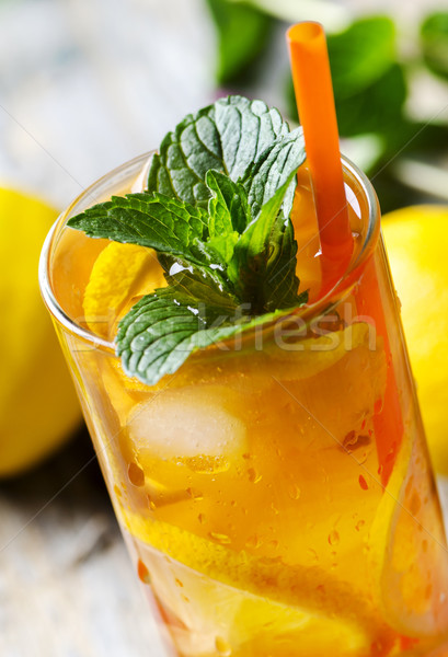 Thé glacé citron menthe alimentaire été Photo stock © hitdelight