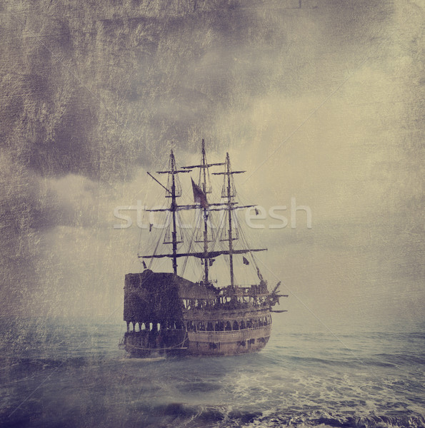 Vieux pirate navire mer texture ciel Photo stock © hitdelight