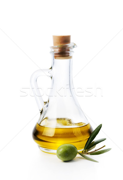 Stockfoto: Olijfolie · fles · olijfolie · vruchten · geïsoleerd · witte