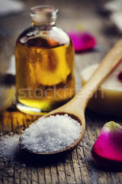 Tengeri só aromás olaj fakanál retro szűrő Stock fotó © hitdelight