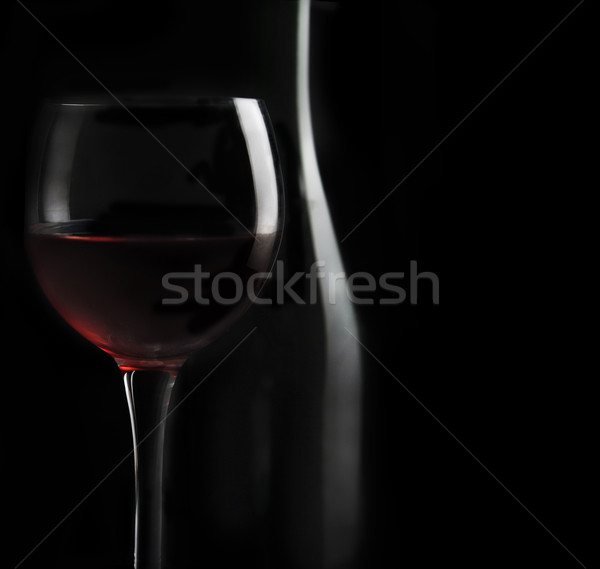 Verre de vin vin rouge noir alimentaire rose verre Photo stock © hitdelight