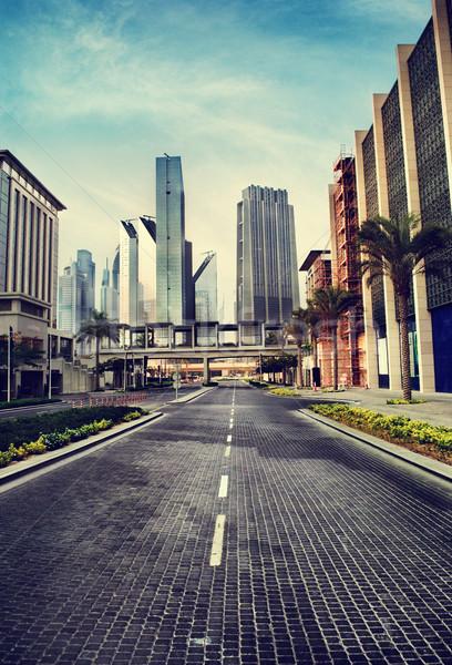 Urbanas ciudad paisaje urbano estilo retro cielo edificio Foto stock © hitdelight