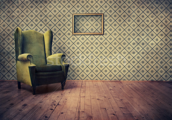 Fauteuil vintage chambre wallpaper papier Photo stock © hitdelight