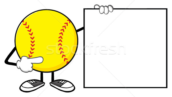 Softball Faceless Cartoon Mascot Character Pointing To A Blank Sign Stock photo © hittoon