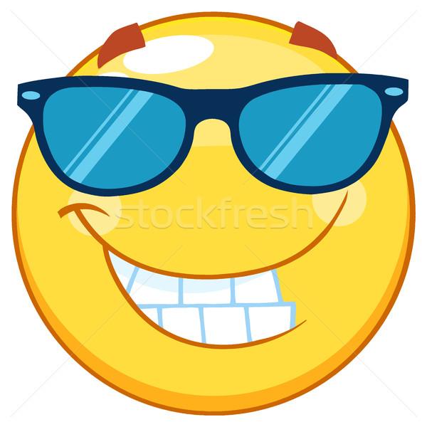Sorridente amarelo emoticon mascote óculos de sol Foto stock © hittoon