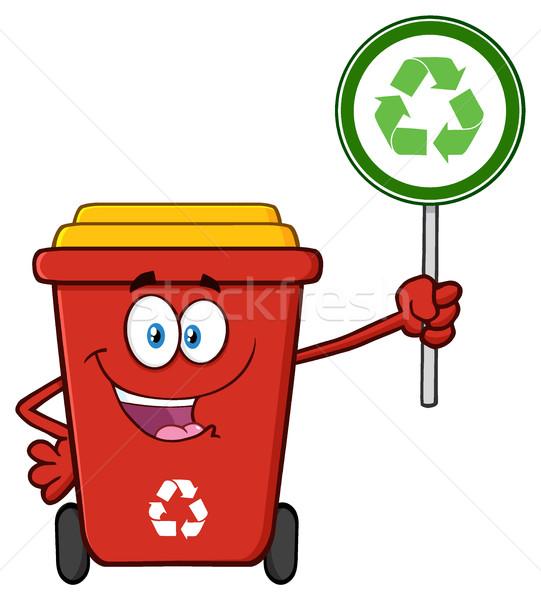 Aranyos piros újrahasznosít tároló rajzfilm kabala karakter Stock fotó © hittoon