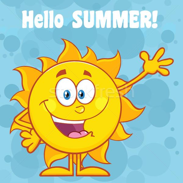 Happy Sun Cartoon Mascot Character Waving For Greeting With Text Hello Summer Stock photo © hittoon