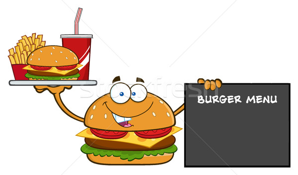 Burger Cartoon Mascot Character Holding A Platter With Burger, French Fries And Soda By Sign Burger  Stock photo © hittoon