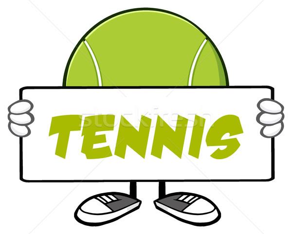 Teniszlabda rajzfilm kabala karakter tart felirat illusztráció Stock fotó © hittoon