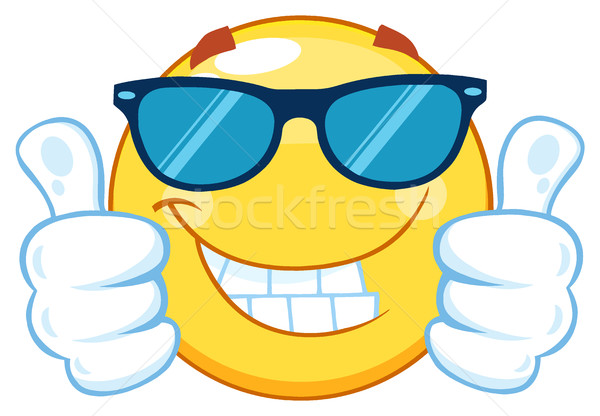 75a24f47b5d5  7501374 Smiling Yellow Emoticon Cartoon Mascot Character With Sunglasses  Giving Two Thumbs Up by ...