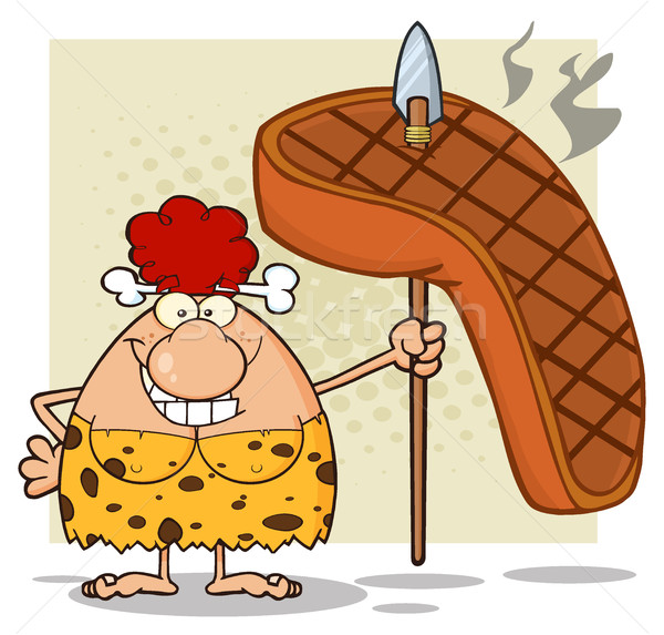 Happy Red Hair Cave Woman Cartoon Mascot Character Holding A Spear With Big Grilled Steak Stock photo © hittoon