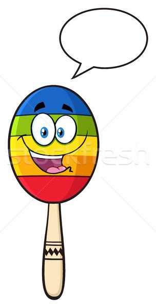 Boldog színes mexikói rajzfilm kabala karakter szövegbuborék Stock fotó © hittoon