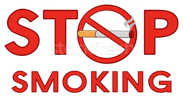 Rosso stop fumare segno sigaretta testo Foto d'archivio © hittoon