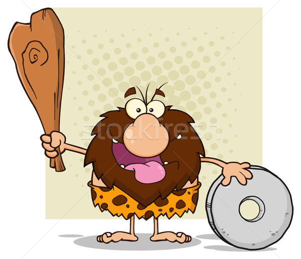 Happy Male Caveman Cartoon Mascot Character Holding A Club And Showing Wheel Stock photo © hittoon