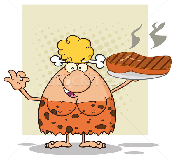 Stock photo: Cave Blonde Woman Cartoon Mascot Character Holding Up A Platter With Big Grilled Steak And Gesturing