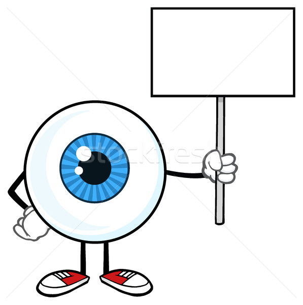 Blue Eyeball Guy Cartoon Mascot Character Holding Up A Blank Sign Stock photo © hittoon