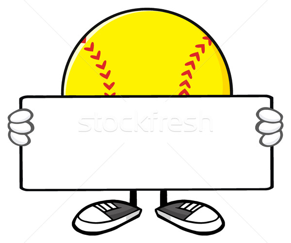 Softball Faceless Cartoon Mascot Character Holding A Blank Sign Stock photo © hittoon