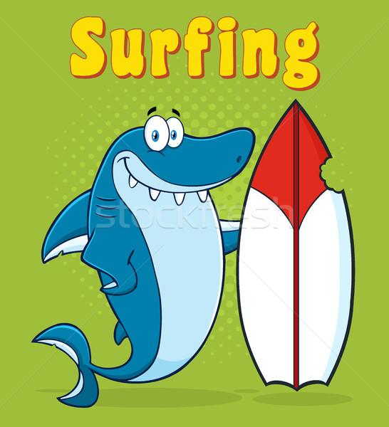 Cute Blue Shark Cartoon Mascot Character With Surfboard Stock photo © hittoon