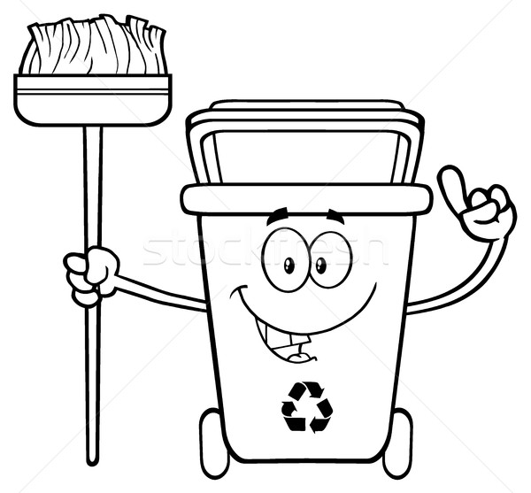 Talking Black And White Recycle Bin Cartoon Mascot Character Pointing To A Open Lid Stock photo © hittoon