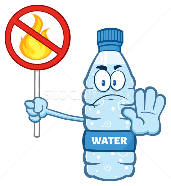 Cartoon Illustation Of A Water Plastic Bottle Mascot Character Holding A No Fire Sign Stock photo © hittoon