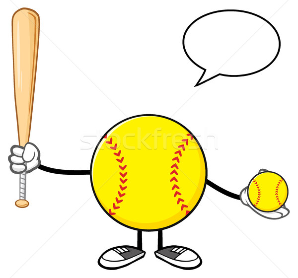 Softball Faceless Player Cartoon Mascot Character Holding A Bat And Ball With Speech Bubble Stock photo © hittoon