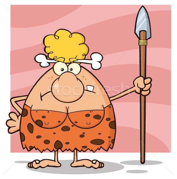 Grumpy Blonde Cave Woman Cartoon Mascot Character Standing With A Spear Stock photo © hittoon