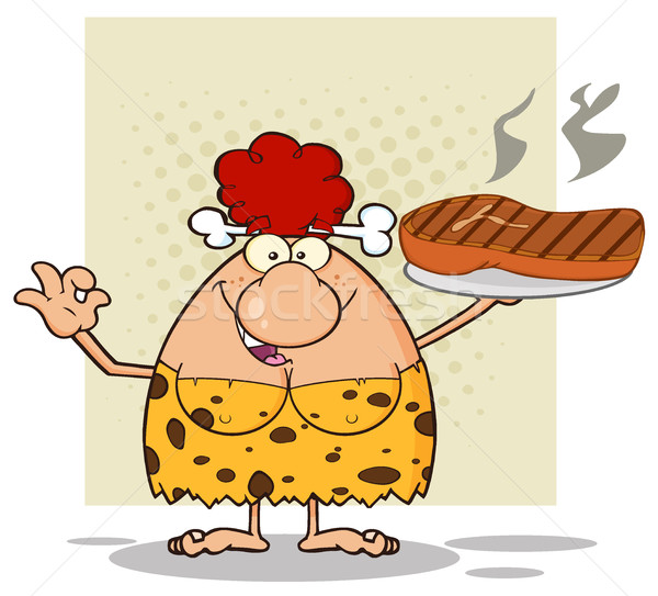 Cave Red Hair Woman Cartoon Mascot Character Holding Up A Platter With Big Grilled Steak And Gesturi Stock photo © hittoon