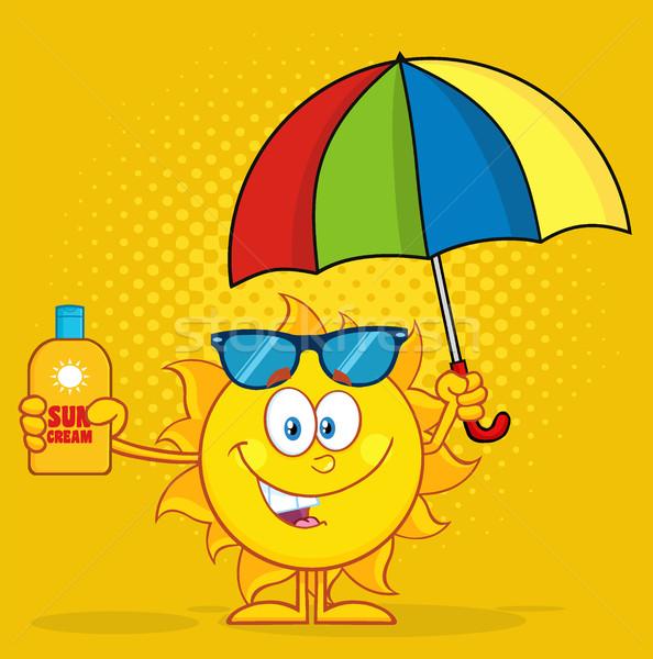Cute soleil mascotte dessinée personnage parapluie Photo stock © hittoon