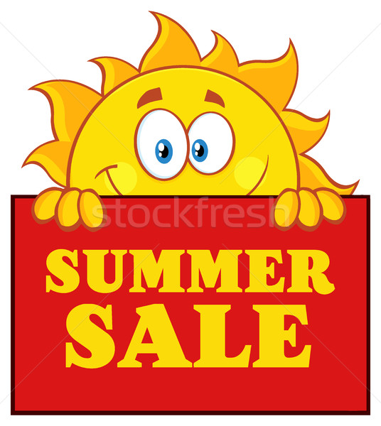 Cheerful Sun Cartoon Mascot Character Over A Sign Board With Text Summer Sale Stock photo © hittoon