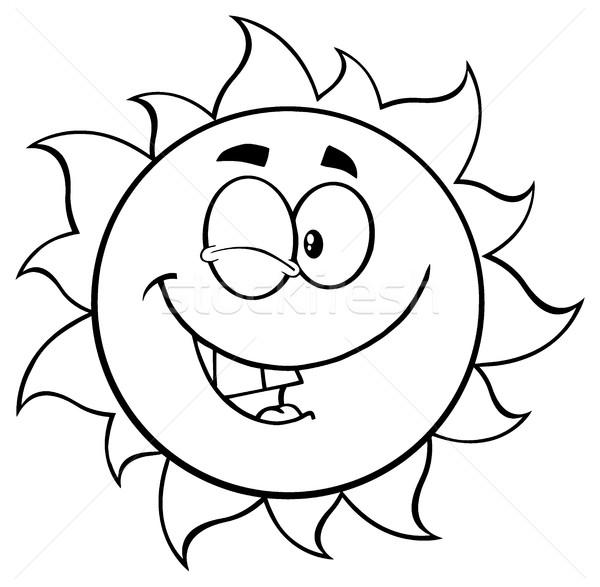 Siyah beyaz güneş karikatür maskot karakter örnek Stok fotoğraf © hittoon